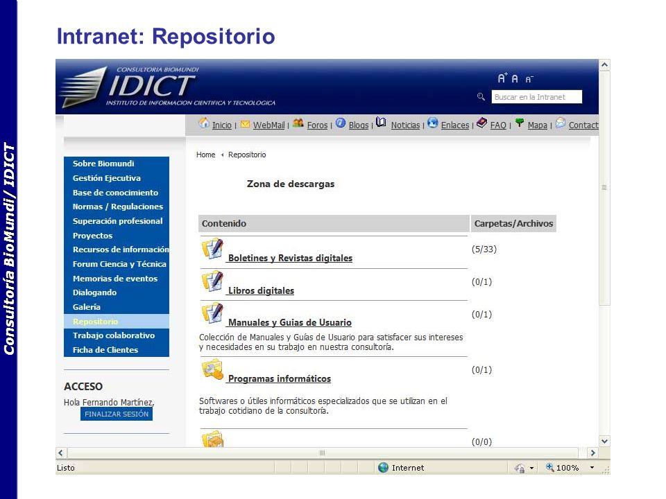 Consultoría BioMundi/ IDICT Intranet: Trabajo colaborativo