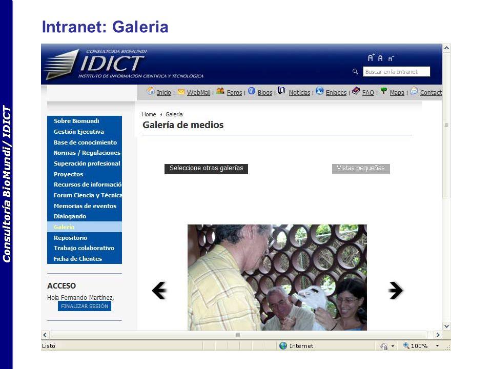 Consultoría BioMundi/ IDICT Intranet: Galeria