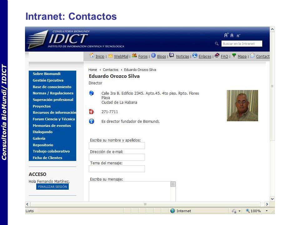 Consultoría BioMundi/ IDICT Intranet: Contactos