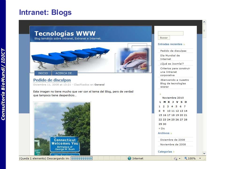 Consultoría BioMundi/ IDICT Intranet: Blogs