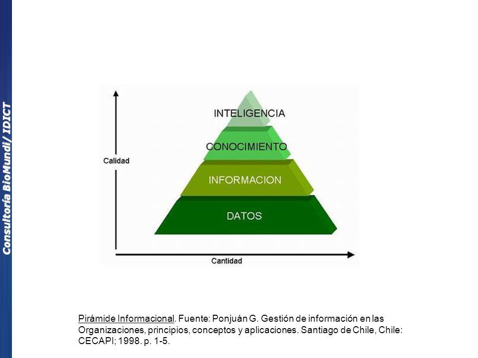 Pirámide Informacional. Fuente: Ponjuán G. Gestión de información en las Organizaciones, principios, conceptos y aplicaciones. Santiago de Chile, Chil