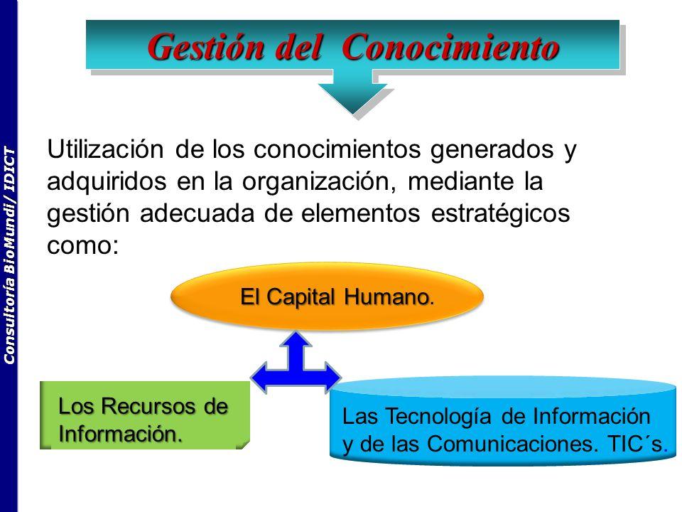 Consultoría BioMundi/ IDICT Utilización de los conocimientos generados y adquiridos en la organización, mediante la gestión adecuada de elementos estratégicos como: El Capital Humano El Capital Humano.