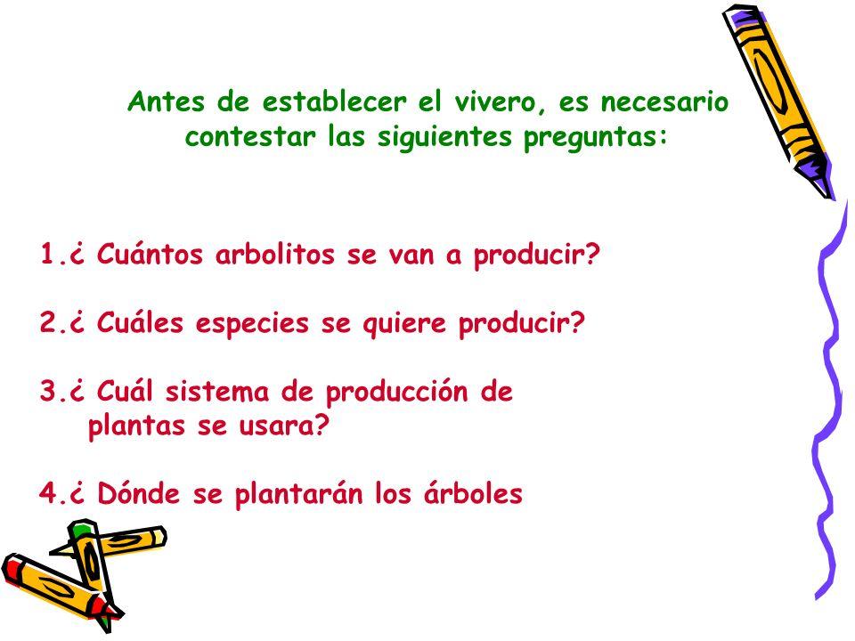 Antes de establecer el vivero, es necesario contestar las siguientes preguntas: 1.¿ Cuántos arbolitos se van a producir? 2.¿ Cuáles especies se quiere