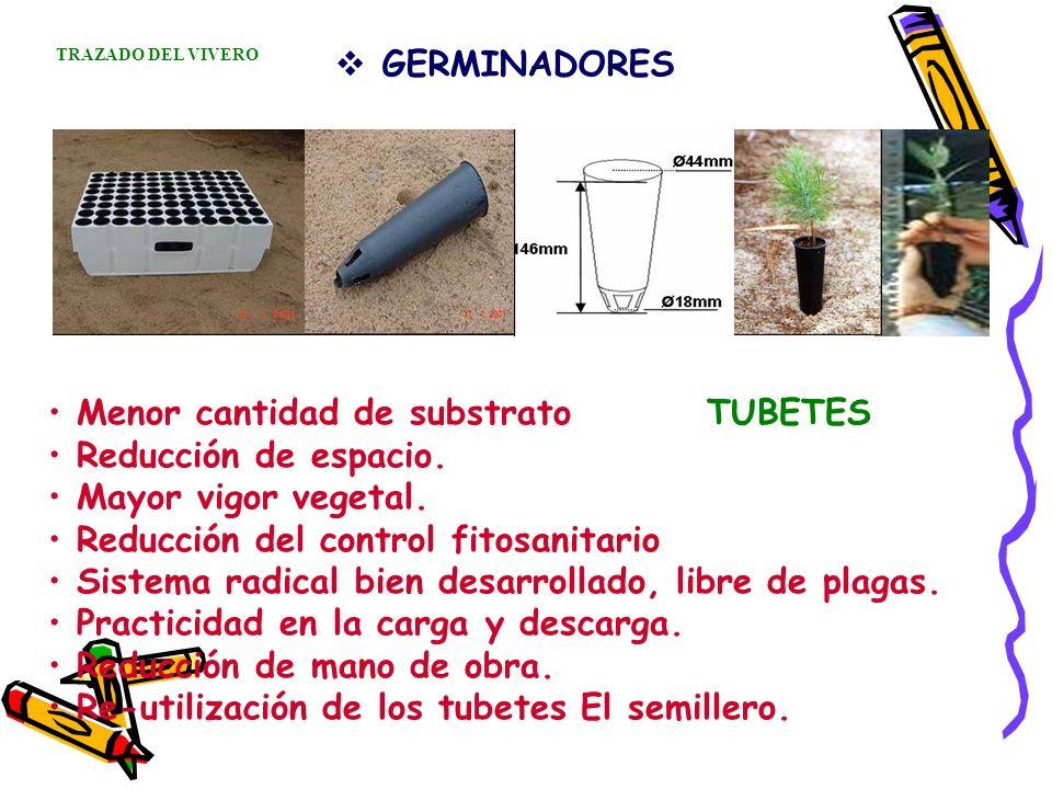 GERMINADORES Menor cantidad de substrato TUBETES Reducción de espacio. Mayor vigor vegetal. Reducción del control fitosanitario Sistema radical bien d