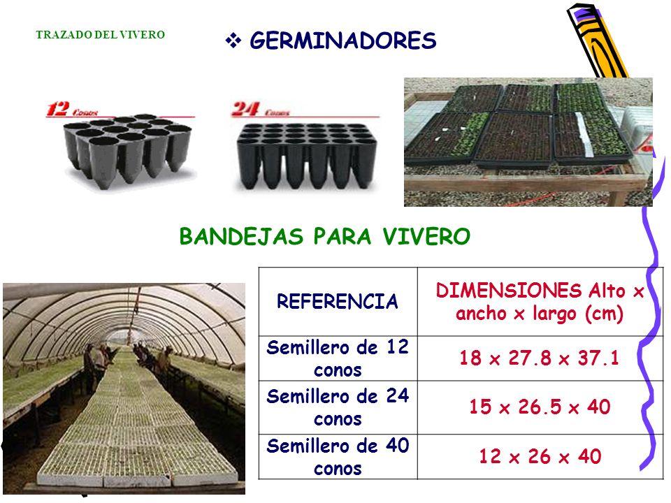 GERMINADORES REFERENCIA DIMENSIONES Alto x ancho x largo (cm) Semillero de 12 conos 18 x 27.8 x 37.1 Semillero de 24 conos 15 x 26.5 x 40 Semillero de