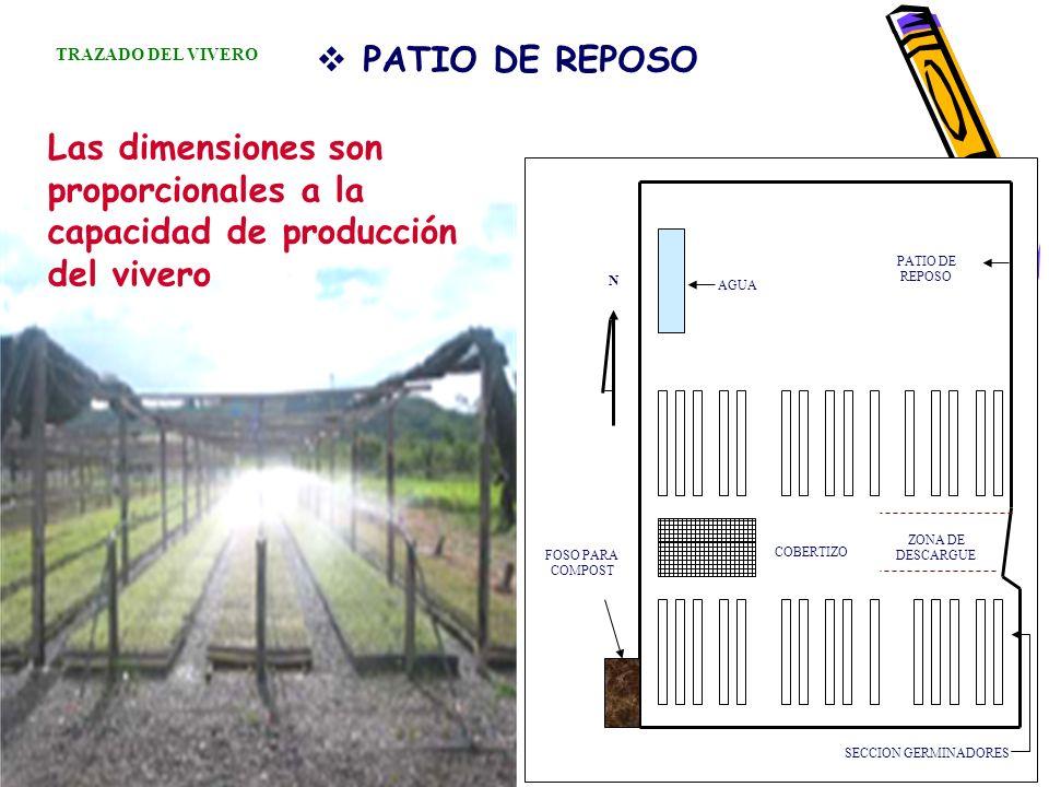PATIO DE REPOSO Las dimensiones son proporcionales a la capacidad de producción del vivero SECCION GERMINADORES FOSO PARA COMPOST COBERTIZO ZONA DE DE