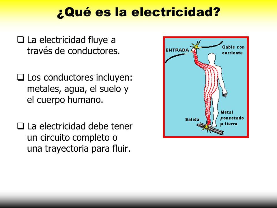 ¿Qué es la electricidad? La electricidad fluye a través de conductores. Los conductores incluyen: metales, agua, el suelo y el cuerpo humano. La elect