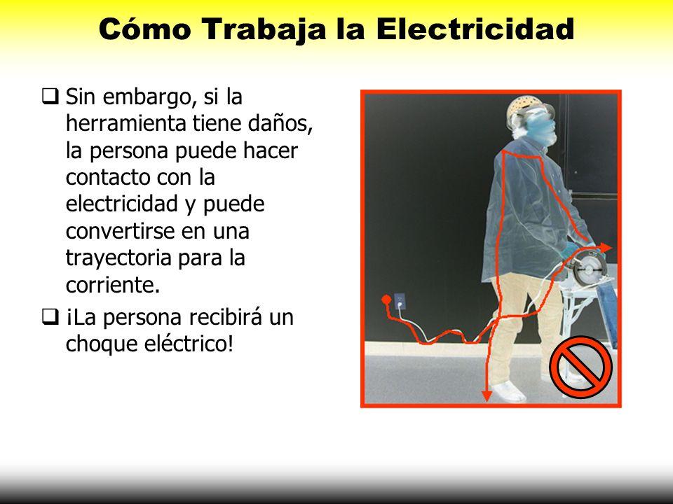 Cómo Trabaja la Electricidad Sin embargo, si la herramienta tiene daños, la persona puede hacer contacto con la electricidad y puede convertirse en un
