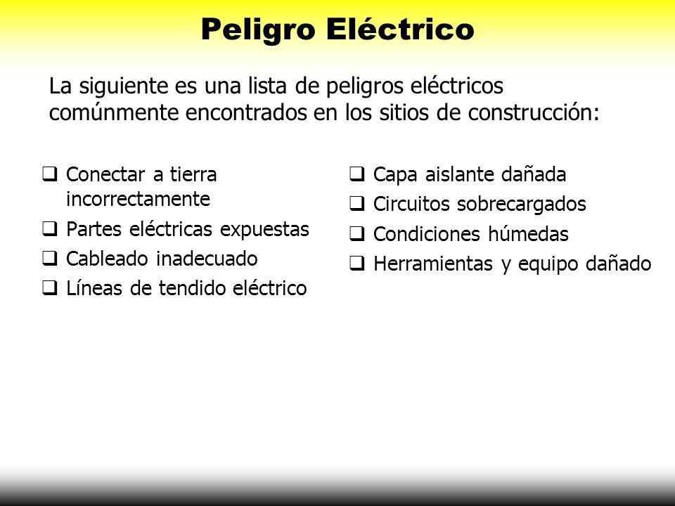 Peligro Eléctrico Conectar a tierra incorrectamente Partes eléctricas expuestas Cableado inadecuado Líneas de tendido eléctrico Capa aislante dañada C