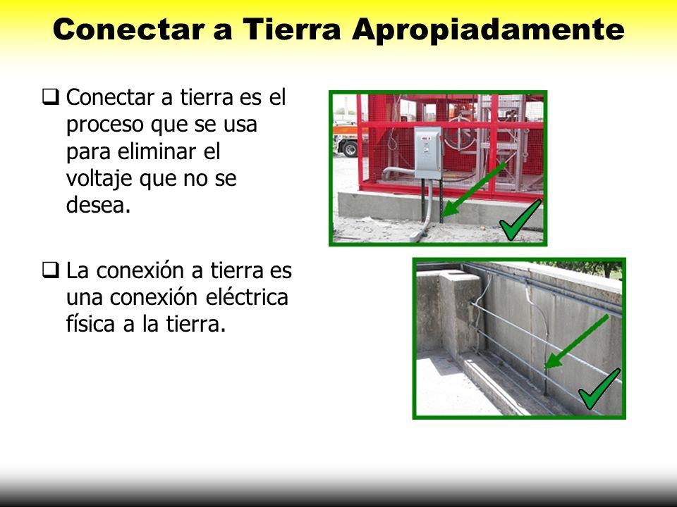 Conectar a Tierra Apropiadamente Conectar a tierra es el proceso que se usa para eliminar el voltaje que no se desea. La conexión a tierra es una cone