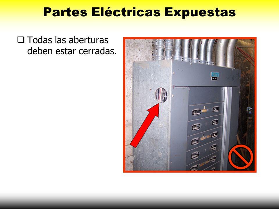 Partes Eléctricas Expuestas Todas las aberturas deben estar cerradas.