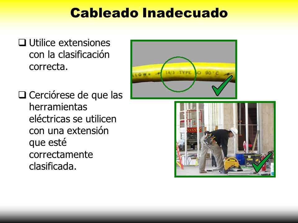 Cableado Inadecuado Utilice extensiones con la clasificación correcta. Cerciórese de que las herramientas eléctricas se utilicen con una extensión que