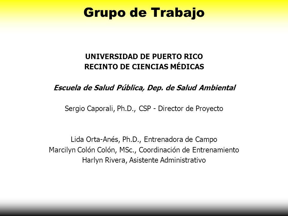 Grupo de Trabajo UNIVERSIDAD DE PUERTO RICO RECINTO DE CIENCIAS MÉDICAS Escuela de Salud Pública, Dep. de Salud Ambiental Sergio Caporali, Ph.D., CSP
