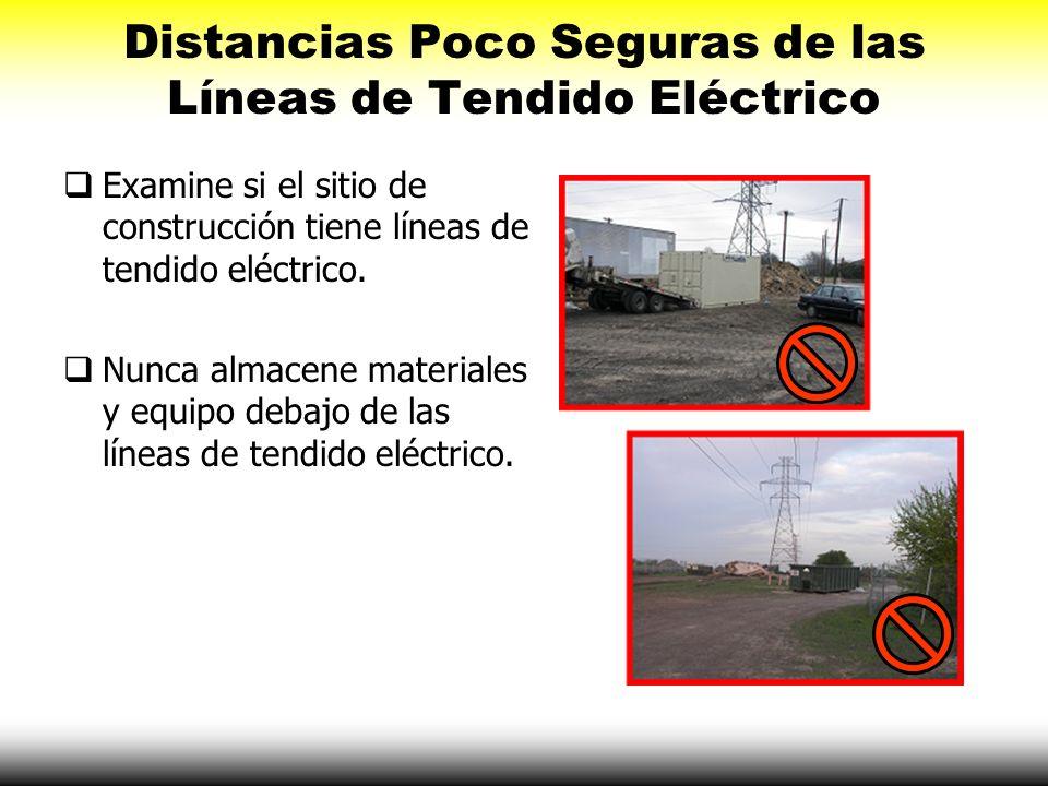 Distancias Poco Seguras de las Líneas de Tendido Eléctrico Examine si el sitio de construcción tiene líneas de tendido eléctrico. Nunca almacene mater