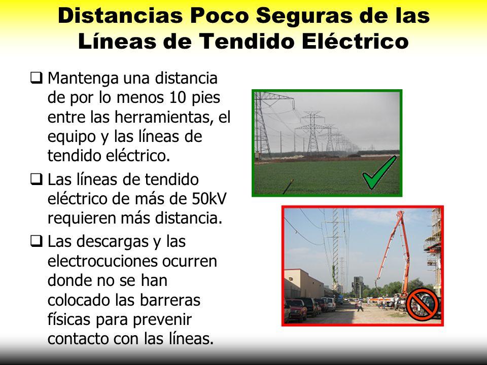 Distancias Poco Seguras de las Líneas de Tendido Eléctrico Mantenga una distancia de por lo menos 10 pies entre las herramientas, el equipo y las líne