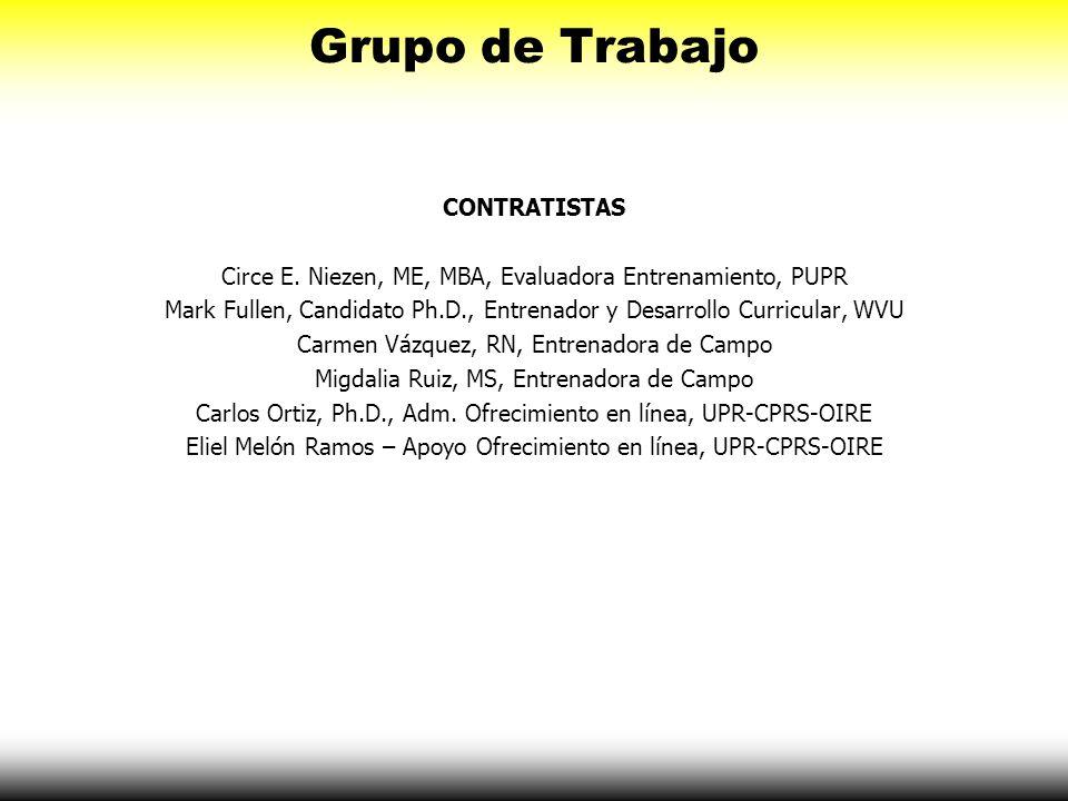 Grupo de Trabajo CONTRATISTAS Circe E. Niezen, ME, MBA, Evaluadora Entrenamiento, PUPR Mark Fullen, Candidato Ph.D., Entrenador y Desarrollo Curricula