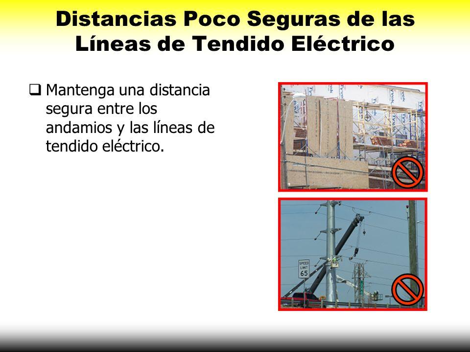 Distancias Poco Seguras de las Líneas de Tendido Eléctrico Mantenga una distancia segura entre los andamios y las líneas de tendido eléctrico.