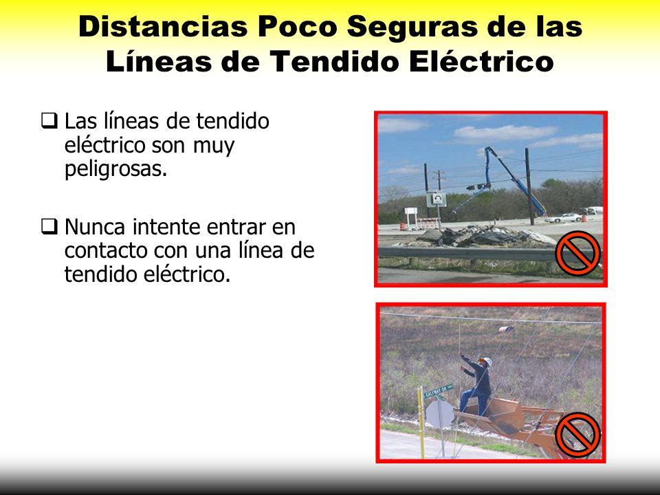 Distancias Poco Seguras de las Líneas de Tendido Eléctrico Las líneas de tendido eléctrico son muy peligrosas. Nunca intente entrar en contacto con un