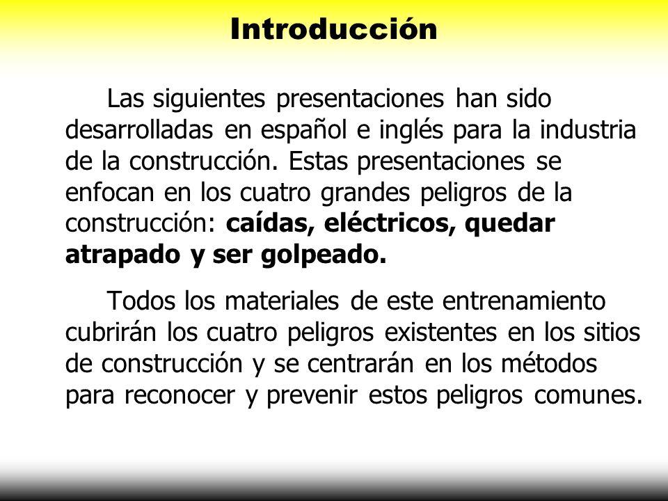 Introducción Las siguientes presentaciones han sido desarrolladas en español e inglés para la industria de la construcción. Estas presentaciones se en