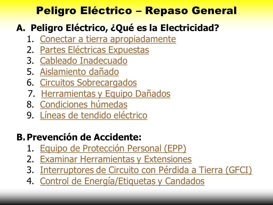 Peligro Eléctrico – Repaso General A. Peligro Eléctrico, ¿Qué es la Electricidad? 1. Conectar a tierra apropiadamenteConectar a tierra apropiadamente