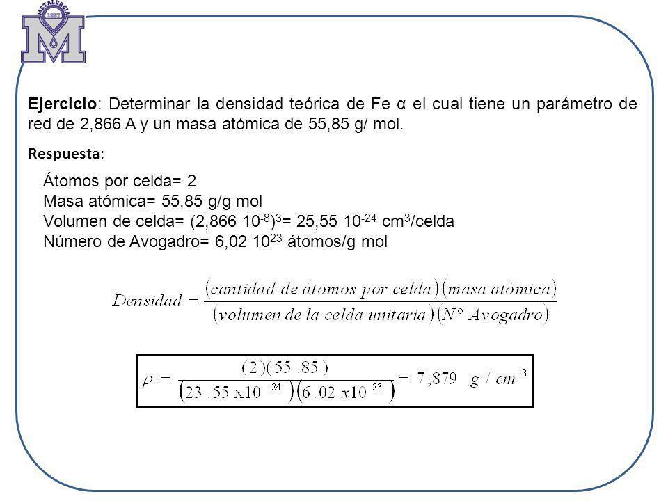 Ejercicio: Determinar la densidad teórica de Fe α el cual tiene un parámetro de red de 2,866 A y un masa atómica de 55,85 g/ mol. Respuesta: Átomos po