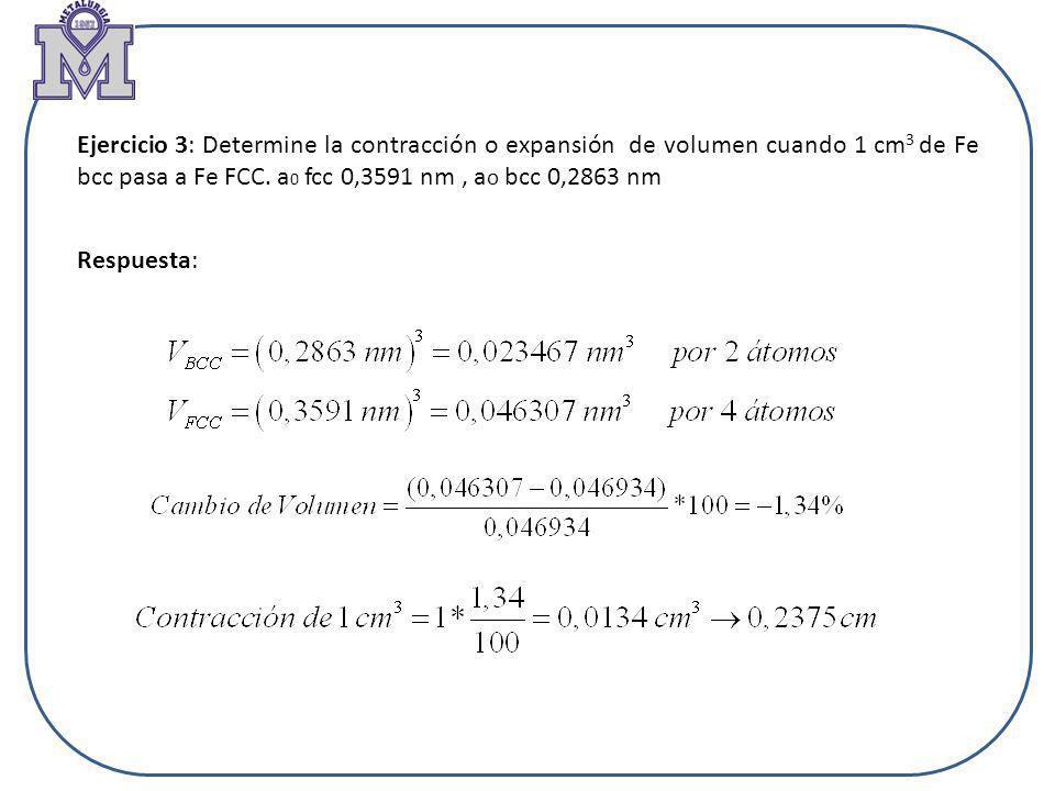 Ejercicio 3: Determine la contracción o expansión de volumen cuando 1 cm 3 de Fe bcc pasa a Fe FCC. a 0 fcc 0,3591 nm, a o bcc 0,2863 nm Respuesta: