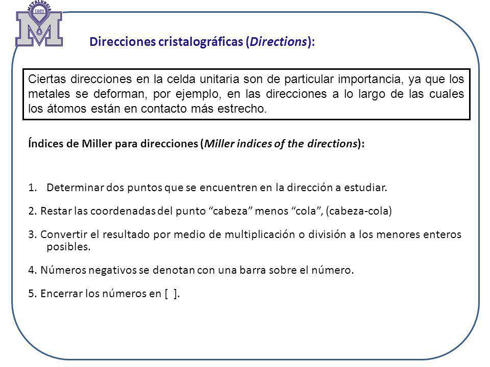 Índices de Miller para direcciones (Miller indices of the directions): Direcciones cristalográficas (Directions): Ciertas direcciones en la celda unit