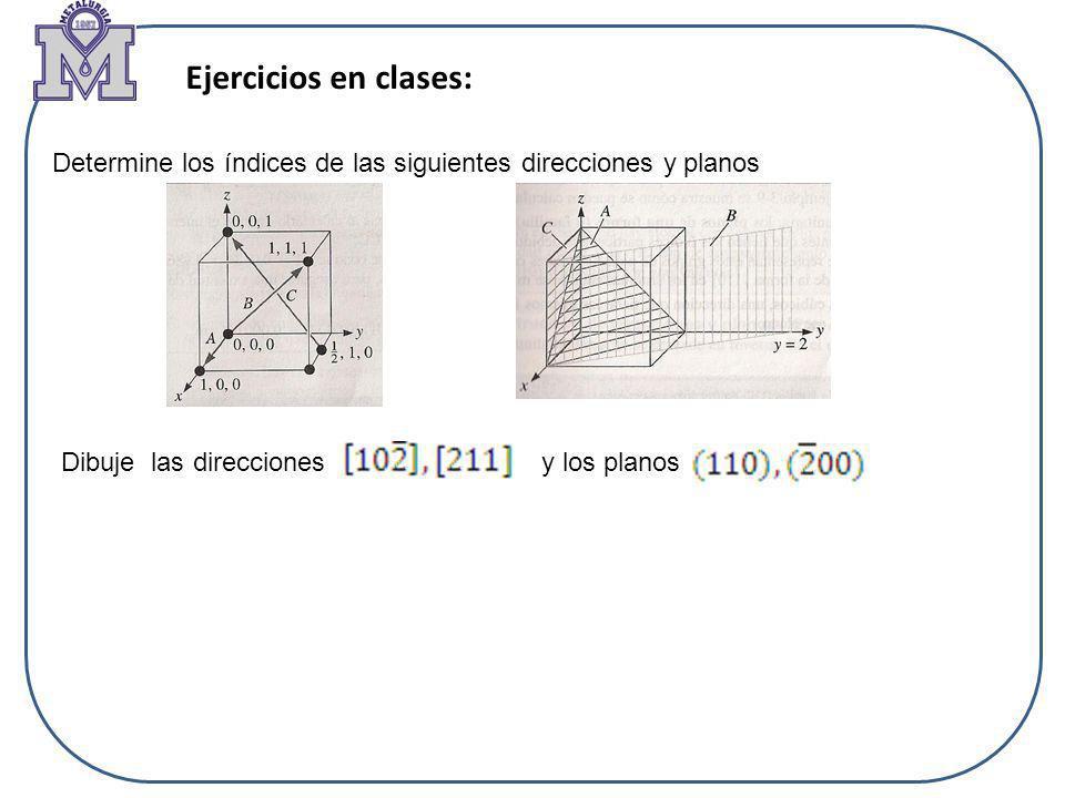 Ejercicios en clases: Determine los índices de las siguientes direcciones y planos Dibuje las direcciones y los planos