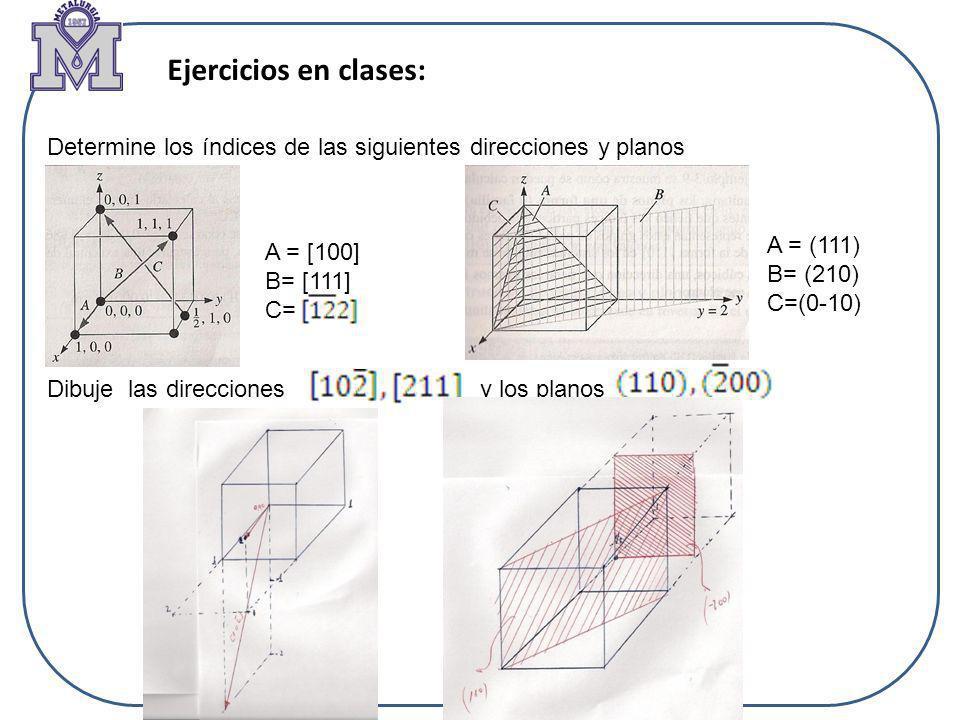 Ejercicios en clases: Determine los índices de las siguientes direcciones y planos Dibuje las direcciones y los planos A = [100] B= [111] C= A = (111)