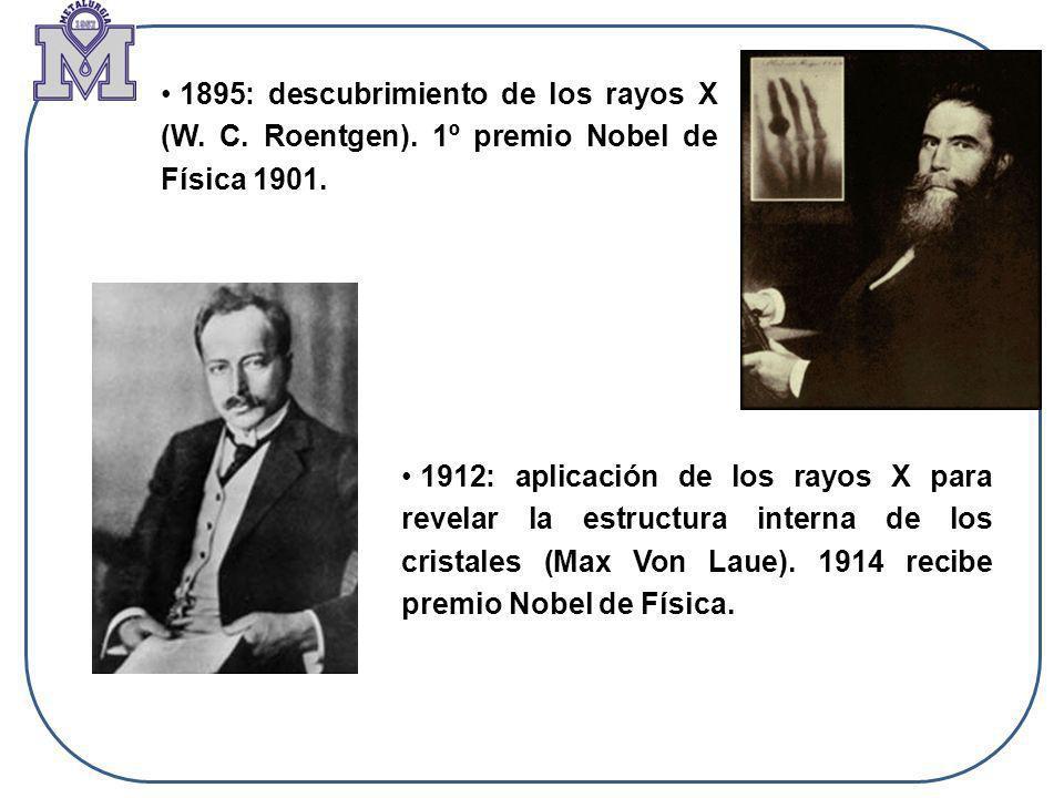 1895: descubrimiento de los rayos X (W. C. Roentgen). 1º premio Nobel de Física 1901. 1912: aplicación de los rayos X para revelar la estructura inter