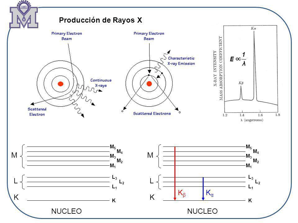 K M L NUCLEO M1M1 M2M2 M3M3 M4M4 M5M5 L2L2 L1L1 L3L3 K K M L M1M1 M2M2 M3M3 M4M4 M5M5 L2L2 L1L1 L3L3 K KβKβ KαKα Producción de Rayos X