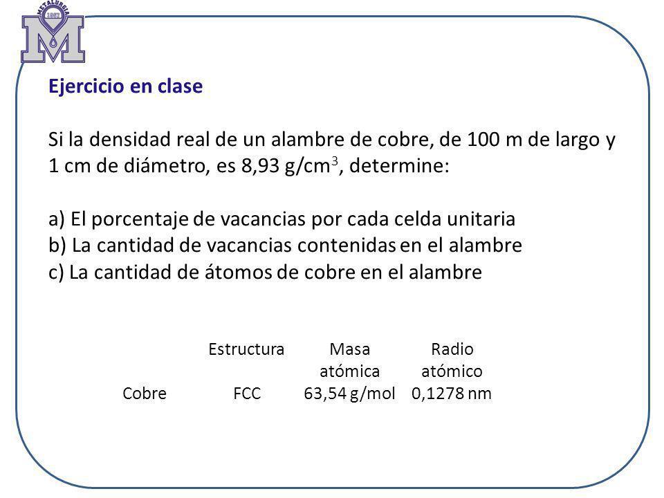 Ejercicio en clase Si la densidad real de un alambre de cobre, de 100 m de largo y 1 cm de diámetro, es 8,93 g/cm 3, determine: a) El porcentaje de va