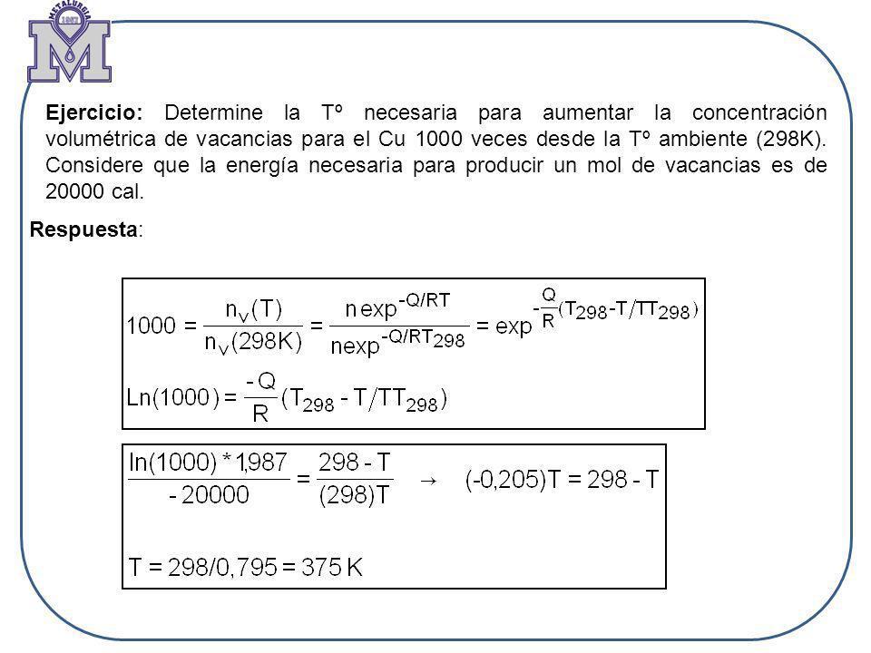 Ejercicio: Determine la Tº necesaria para aumentar la concentración volumétrica de vacancias para el Cu 1000 veces desde la Tº ambiente (298K). Consid