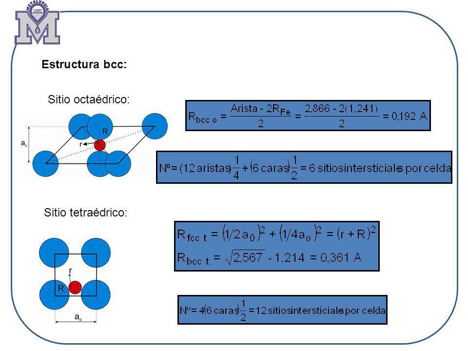 Estructura bcc: Sitio octaédrico: Sitio tetraédrico: