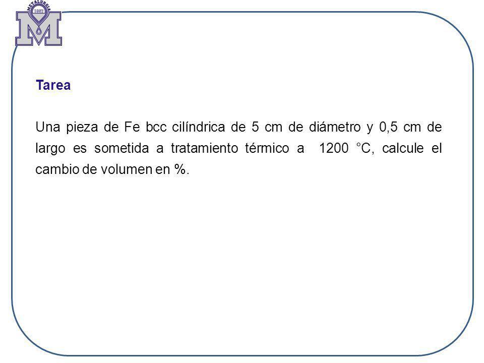 Tarea Una pieza de Fe bcc cilíndrica de 5 cm de diámetro y 0,5 cm de largo es sometida a tratamiento térmico a 1200 °C, calcule el cambio de volumen e
