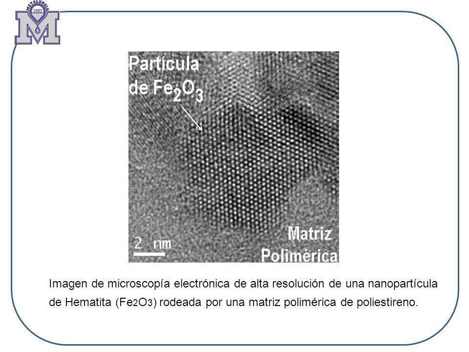 Imagen de microscopía electrónica de alta resolución de una nanopartícula de Hematita (Fe 2 O 3 ) rodeada por una matriz polimérica de poliestireno.