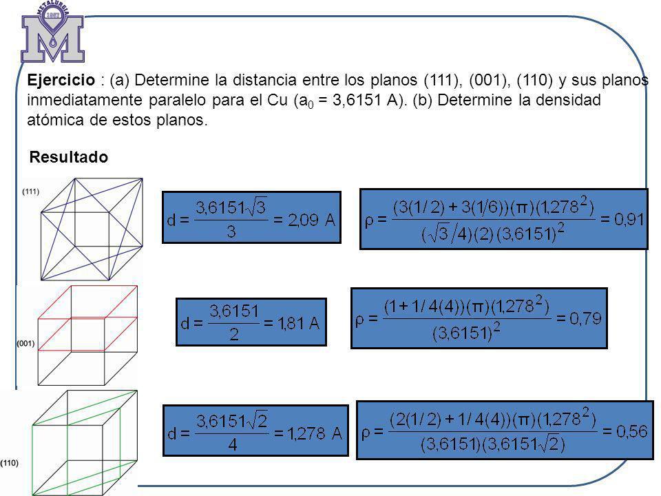 Ejercicio : (a) Determine la distancia entre los planos (111), (001), (110) y sus planos inmediatamente paralelo para el Cu (a 0 = 3,6151 A). (b) Dete