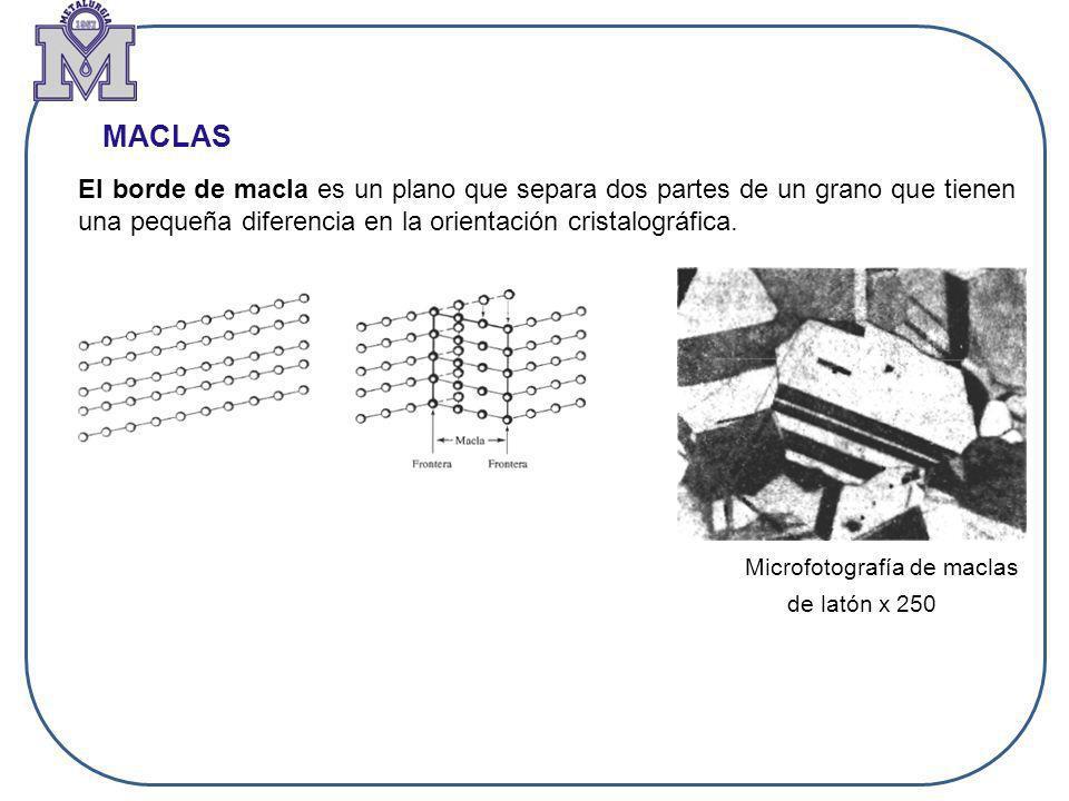 MACLAS Microfotografía de maclas de latón x 250 El borde de macla es un plano que separa dos partes de un grano que tienen una pequeña diferencia en l