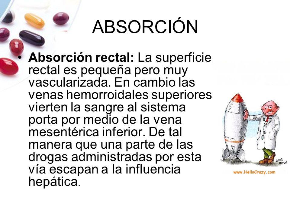 ABSORCIÓN Absorción rectal: La superficie rectal es pequeña pero muy vascularizada. En cambio las venas hemorroidales superiores vierten la sangre al