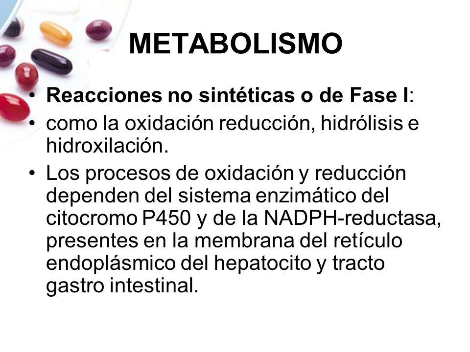 METABOLISMO Reacciones no sintéticas o de Fase I: como la oxidación reducción, hidrólisis e hidroxilación. Los procesos de oxidación y reducción depen