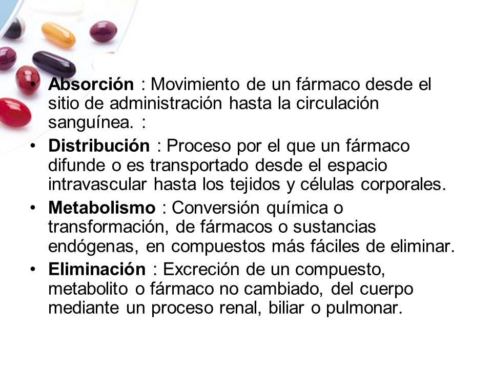 Absorción : Movimiento de un fármaco desde el sitio de administración hasta la circulación sanguínea. : Distribución : Proceso por el que un fármaco d