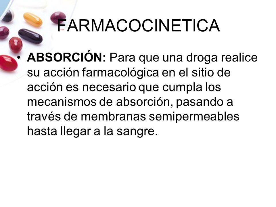 FARMACOCINETICA ABSORCIÓN: Para que una droga realice su acción farmacológica en el sitio de acción es necesario que cumpla los mecanismos de absorció