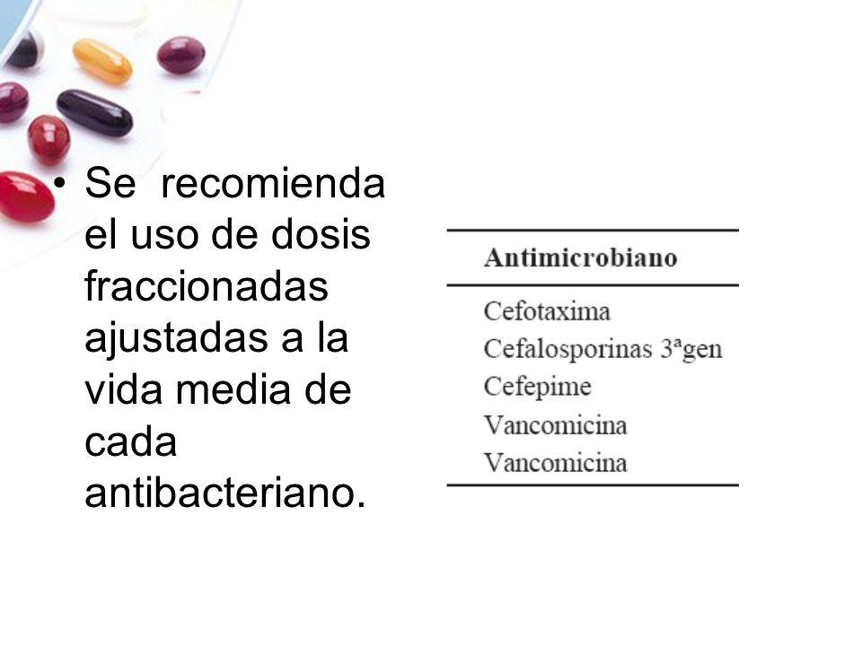 Se recomienda el uso de dosis fraccionadas ajustadas a la vida media de cada antibacteriano.