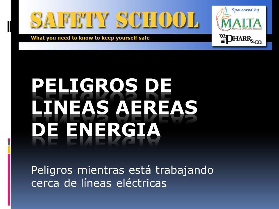 Precauciones de seguridad Aunque las líneas de energía pueden parecer aisladas, muchas veces estas coberturas solo protegen los alambres de condiciones del tiempo y no protegen a UD de shock eléctrico.