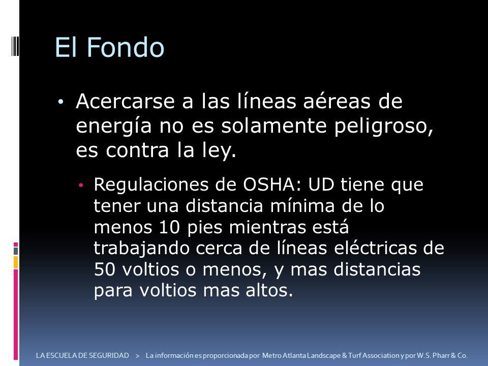 El Fondo Acercarse a las líneas aéreas de energía no es solamente peligroso, es contra la ley. Regulaciones de OSHA: UD tiene que tener una distancia