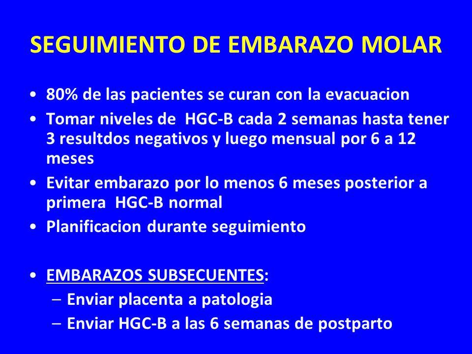 SEGUIMIENTO DE EMBARAZO MOLAR 80% de las pacientes se curan con la evacuacion Tomar niveles de HGC-B cada 2 semanas hasta tener 3 resultdos negativos