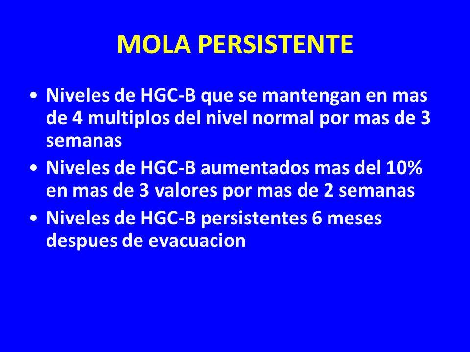 MOLA PERSISTENTE Niveles de HGC-B que se mantengan en mas de 4 multiplos del nivel normal por mas de 3 semanas Niveles de HGC-B aumentados mas del 10%