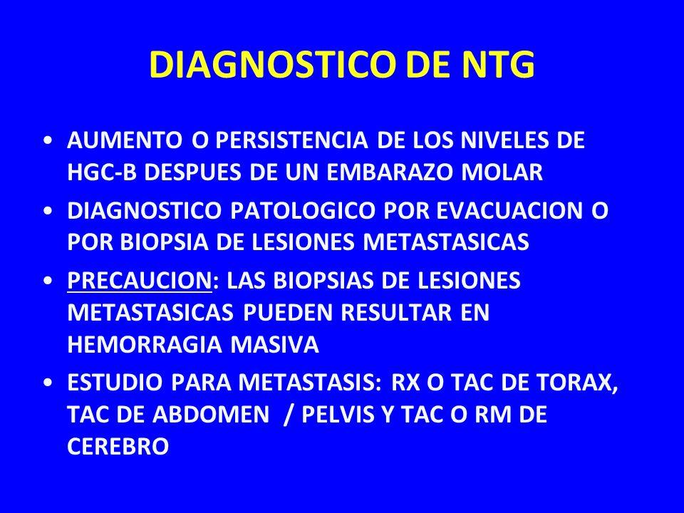 DIAGNOSTICO DE NTG AUMENTO O PERSISTENCIA DE LOS NIVELES DE HGC-B DESPUES DE UN EMBARAZO MOLAR DIAGNOSTICO PATOLOGICO POR EVACUACION O POR BIOPSIA DE