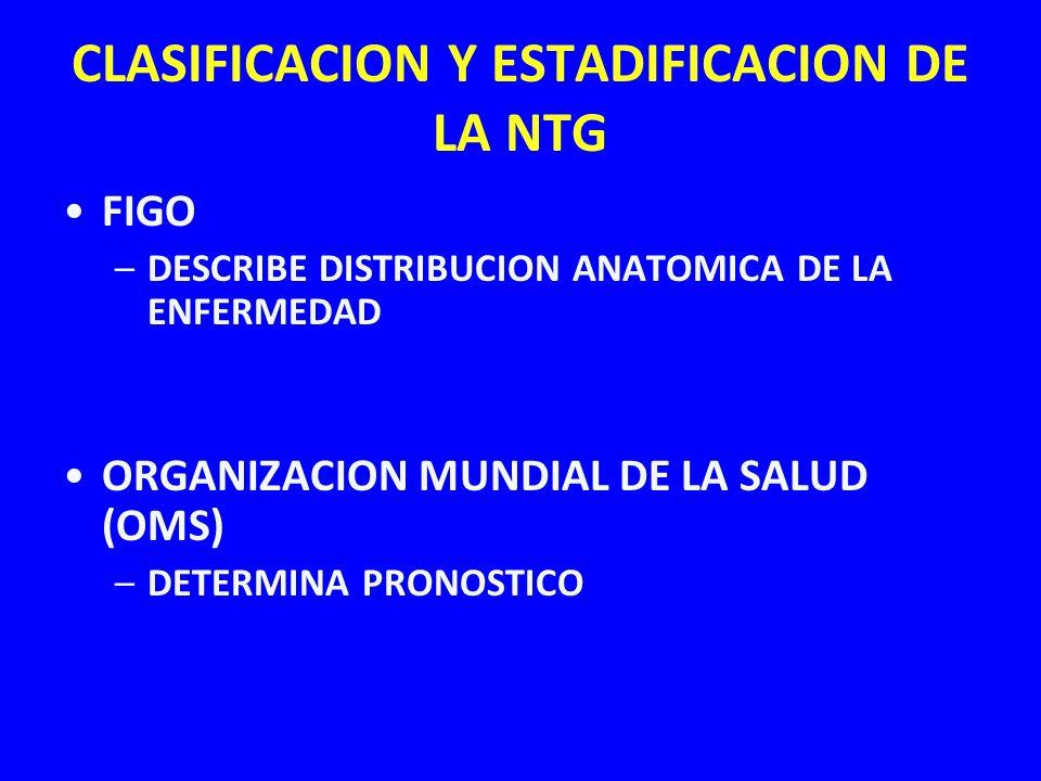CLASIFICACION Y ESTADIFICACION DE LA NTG FIGO –DESCRIBE DISTRIBUCION ANATOMICA DE LA ENFERMEDAD ORGANIZACION MUNDIAL DE LA SALUD (OMS) –DETERMINA PRON