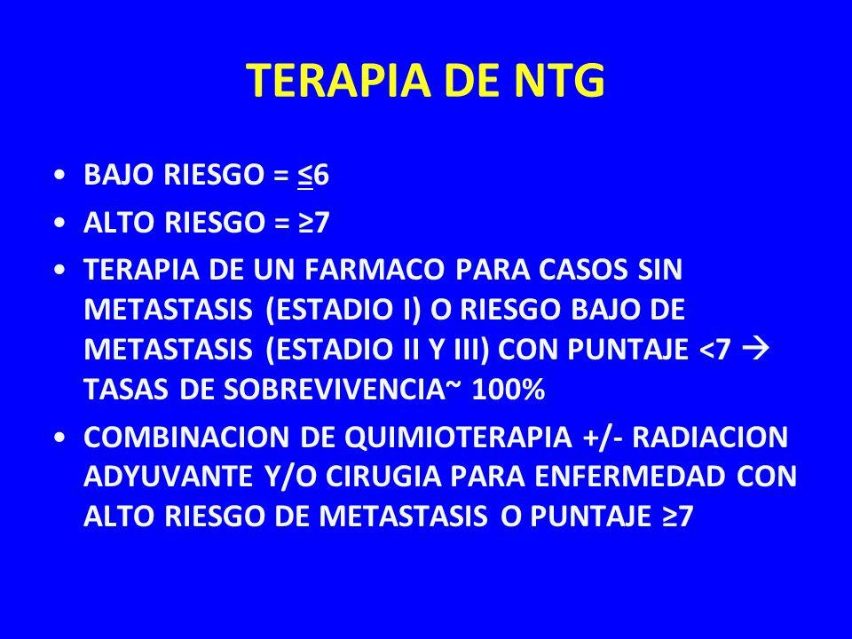 TERAPIA DE NTG BAJO RIESGO = 6 ALTO RIESGO = 7 TERAPIA DE UN FARMACO PARA CASOS SIN METASTASIS (ESTADIO I) O RIESGO BAJO DE METASTASIS (ESTADIO II Y I